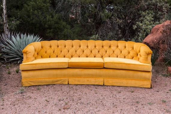 HOLDforMik-Mid-Century Tufted Vintage Velvet Sherbet Orange Yellow Sofa Couch MCM