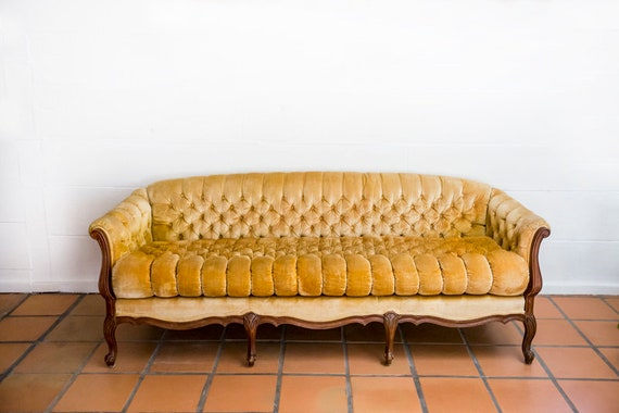 Mid Century Vintage Tufted Gold Yellow Sofa Couch MCM
