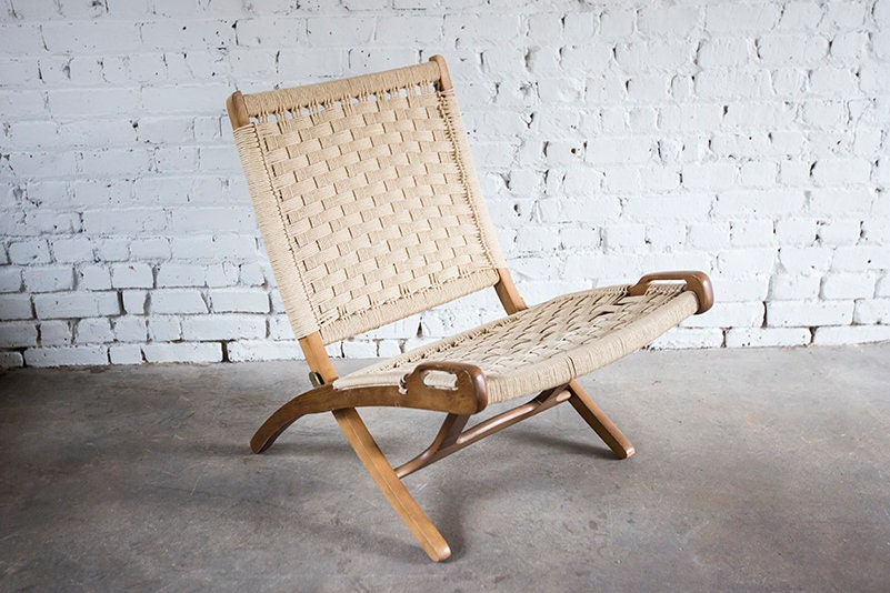 Stupendous Mid Century Hans Wegner Style Folding Rope Scissor Lounge Ocoug Best Dining Table And Chair Ideas Images Ocougorg
