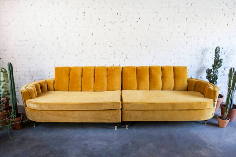 finest selection 0855f bbbfd Mid-Century Gold Yellow Velvet Sofa Couch Sectional MCM