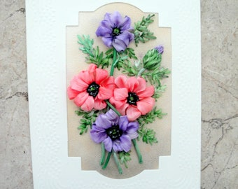 silk ribbon embroidered card  ' For you ...'