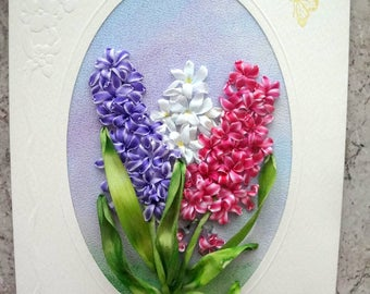 silk ribbon embroidered card ' Spring mood'
