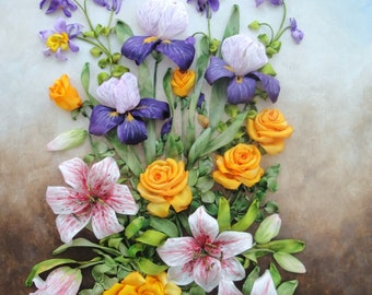 Silk ribbon embroidery 'Summer's melody'