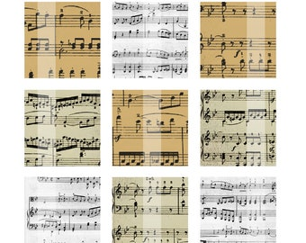 Vintage Music Sheet. Digital Collage Sheet. 4x6. Scrabble Tile Images. Instant Download. 1 inch Squares.