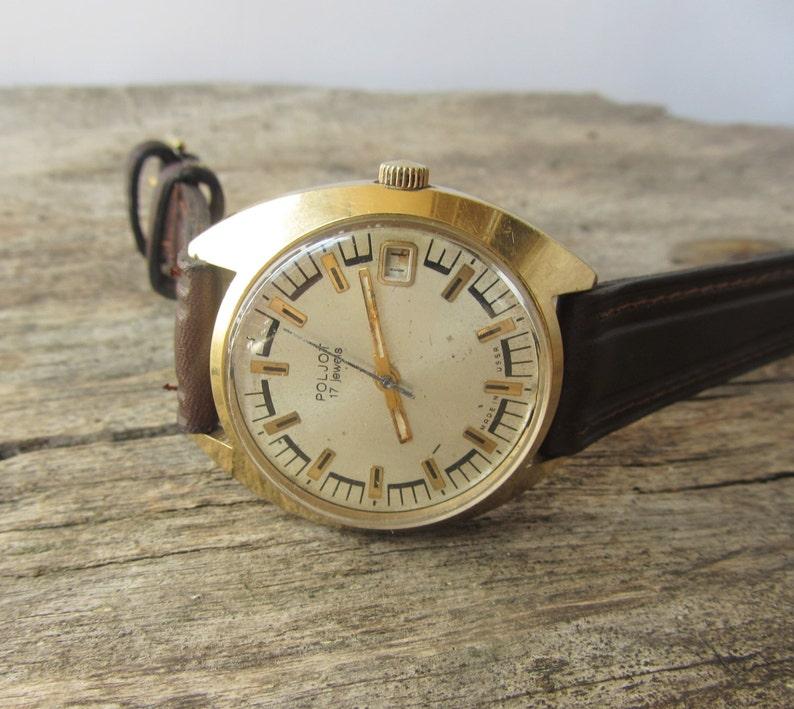 4a0ea313a4f3 Reloj ruso Poljot 17 joyas enchapada en oro hombres reloj