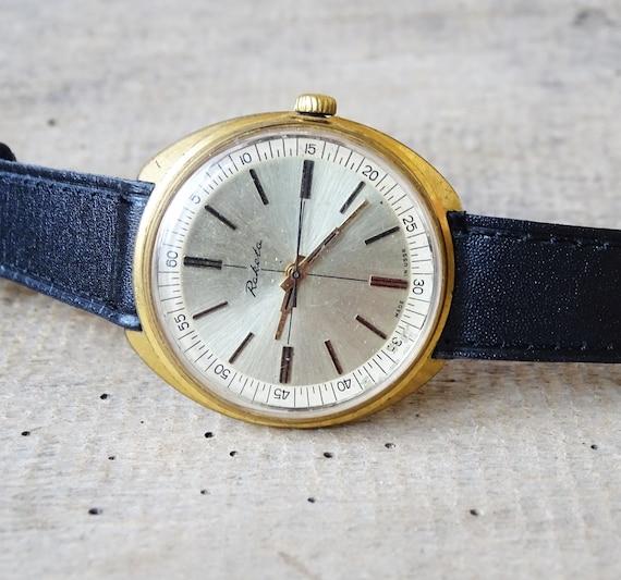 Russian Men Es Watch Raketa Gold Plated Vintage Men S Watch Retro Watch Wrist Watch Mechanical Working Old Watch Udssr Black And White Watch