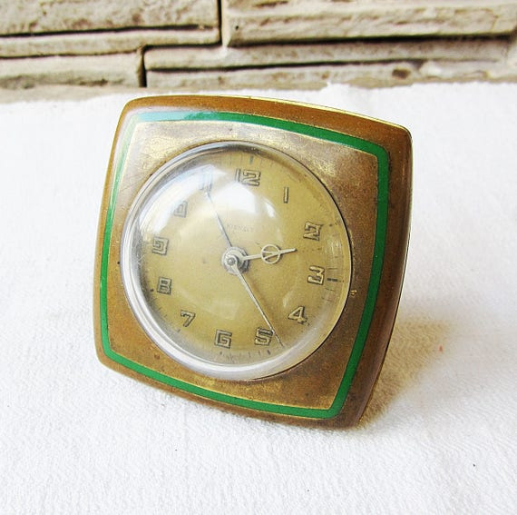 Ultra Rare Antique radio réveil Kienzle travaillant en laiton horloge réveil allemand horloge ancienne horloge mécanique collection horloge rustique