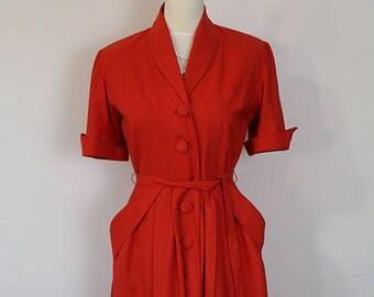 SUPER SALE 50% off! Vintage Coat Dress 1950's 50's cotton velvet / Lucille / Authentic vintage reproduction / Red 50s dress / XS S M L Xl