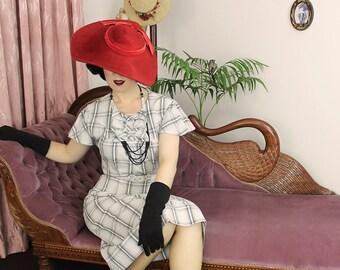 Vintage Dress 1930's 30's cotton  / Mildred / Authentic vintage reproduction / White Plaid 30s dress / XS S M L Xl