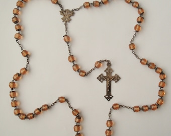 Antique Pink Capped Glass Rosary