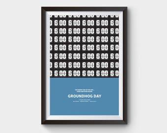 Groundhog Day Movie Poster A3 Film Minimal Minimalist Typography Bill Murray