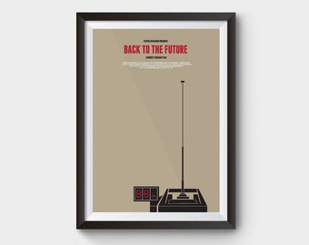 """Back to the future - 88 mph - A3 (12x16"""") film poster, movie poster, 88 mph, delorean, clock tower, bttf trilogy, minimalist movie poster"""