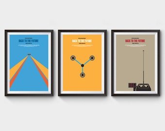 Back to the future - collection of 3 movie poster, film poster, minimalist movie poster, 88 mph, time machine, delorean, clock tower, bttf