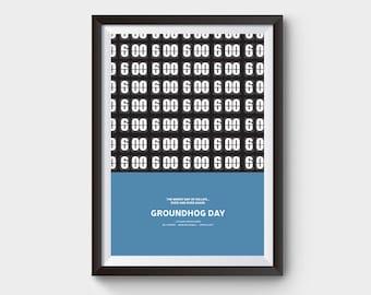 Groundhog Day movie poster- A3 movie, film poster, minimal, minimalist movie poster, typography, bill murray, groundhog day poster, poster