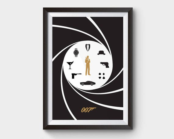 James Bond Movie Poster Film Poster Minimal Poster Minimalist Movie Poster Bond Movie Skyfall Spectre Casino Royale 007 Poster