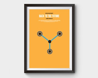 Back to the future - flux - A3/A4 movie, film poster, 88 mph, time machine, delorean, clock tower, bttf trilogy, minimalist movie poster