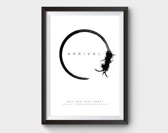 Arrival  - movie poster, art, print, film, Minimalist movie poster, geek poster, art print, film poster, black and white print, scifi