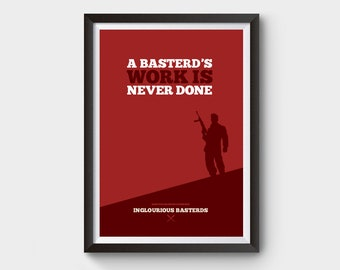 Inglourious Basterds movie poster - A3/A4 minimalist movie poster, film poster, tarantino, poster, inglorious basterds, inglourious bastard