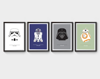 STAR WARS - collection of 4 movie posters, film poster, darth vader, r2d2, stormtrooper, bb-8, geekery, minimalist movie poster