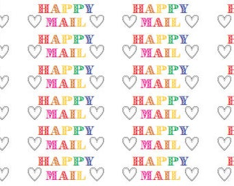 rainbow happy mail stickers, happy mail, envelope decorations