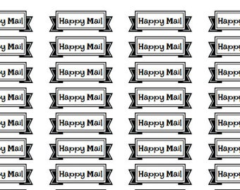 happy mail banner stickers, happy mail stickers, envelope decorations