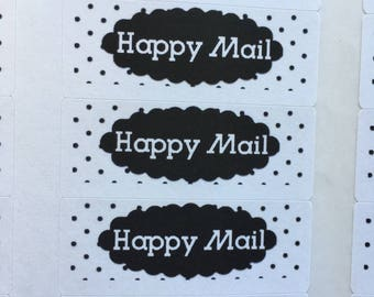 happy mail stickers, polka dot happy mail stickers, envelope decorations