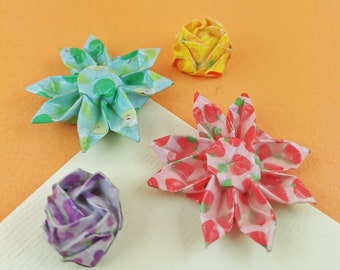 Origami Hair Pinch - Hardened Paper Flower - Rose or Margarita - Fruit Collection