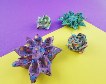 Origami brooch - Hardened paper flower - Rose or Margarita - Collection 80s