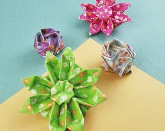 Origami Hair Pinch - Hardened Paper Flower - Rose or Margarita - Fleurie Collection