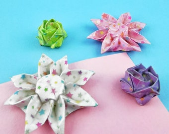 Origami magnet - Hardened paper flower - Rose or Margarita - Star Collection