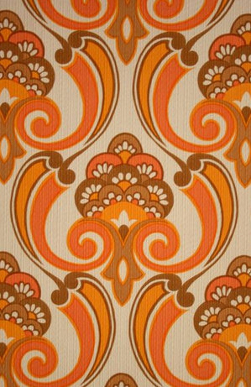 Orangeadelic Mid Century Modern Floral Wallpaper Vintage Etsy