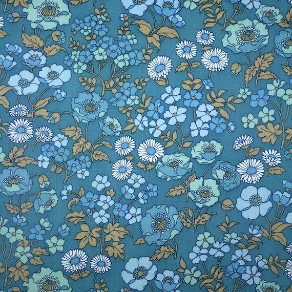 BACK IN STOCK ORIGINAL FRENCH Vintage Blue Floral Vinyl Wallpaper 1970s 60s