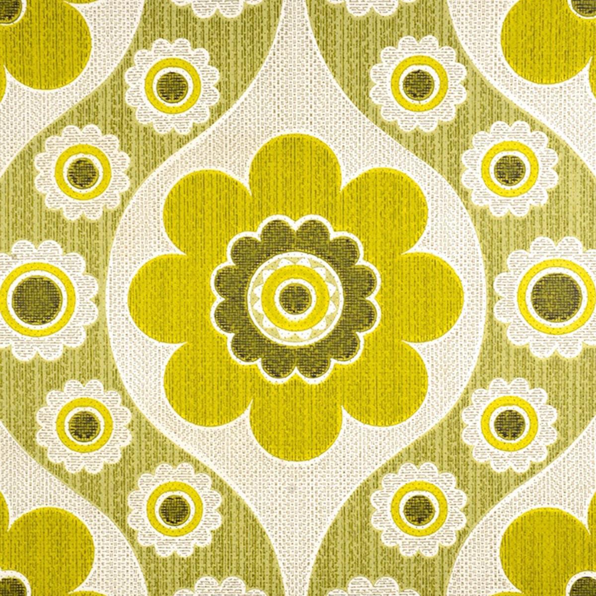 Reserved 60 S 70s Original Geo Floral Green Vintage Etsy