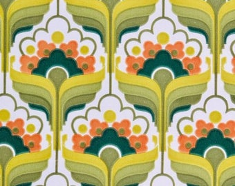 Iconic 1970s Design Field of Dreams Mid Century Geo Floral Green Wallpaper