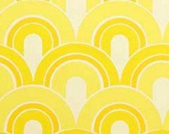 MidCentury Modern Get Happy YELLOW 1970s 60s Geometric Vintage Orig Wallpaper