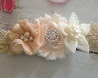 Vintage Ivory Couture newborn baby girls headband