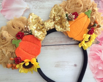 Mouse Ears Fall Headband- pumpkins and gourds couture headband