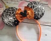 Halloween Mouse ears headband- orange and black mouse ears-Dress up-party headband