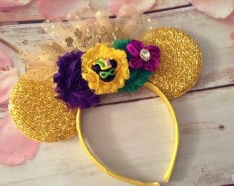 Mardi Gras Mouse Ears headband-Fat Tuesday Mouse ears- photo prop,party headband