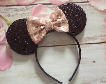 Rose Gold Bow Mouse Ears Headband-dress up-Halloween costume,vacation