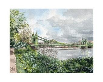 London, Hammersmith Bridge in the Spring - Limited Edition Giclee Print. Fine Art Print. UK