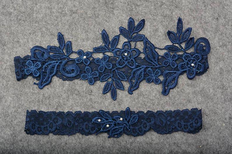something blue garter bride garter navy blue bridal garter wedding garter rhinestone beaded lace garter lace garter