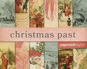 Vintage Christmas Digital Paper - Victorian Christmas Craft Paper - Vintage Scrapbooking - Instant Download - 12 Sheets