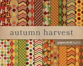 Autumn Digital Paper - Plaid Scrapbooking Paper - Chevron Pattern - Argyle Pattern - Apple Pattern - Pumpkin Pattern - Instant Download