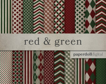 Vintage Christmas Digital Paper - Red and Green Craft Paper - Distressed Holiday Digital Paper - Christmas Scrapbooking - 20 Sheets