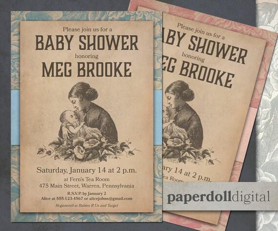 Printable victorian baby shower invitation download etsy filmwisefo