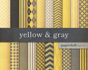 Yellow and Gray Digital Paper - Digital Craft Paper - Distressed Digital Paper - Chevron Digital Paper - Instant Download - 20 Sheets