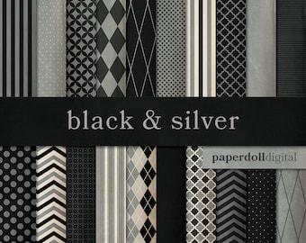 Black and Gray Digital Paper - Chevron Paper - Distressed Digital Paper - Quatrefoil Digital - Instant Download - 20 Sheets