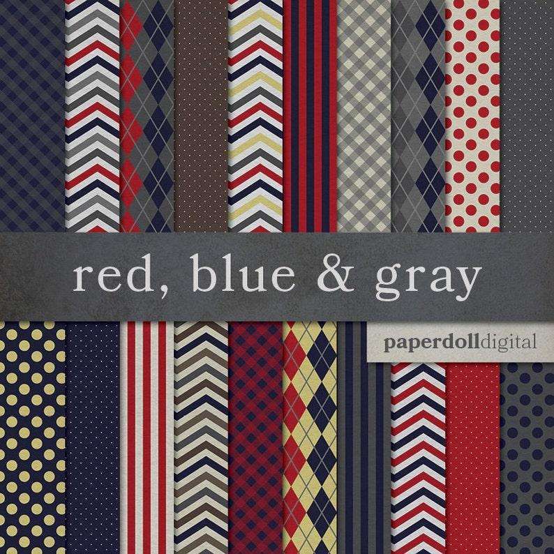 6c3271e60 Red Blue   Gray Digital Paper Argyle Pattern Chevron
