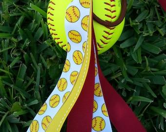 Softball bow seminoles colors pony tail holder